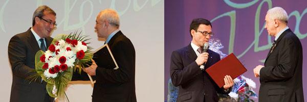 Н. Цхадая поздравляют В. Гайзер и А. Хабибуллин