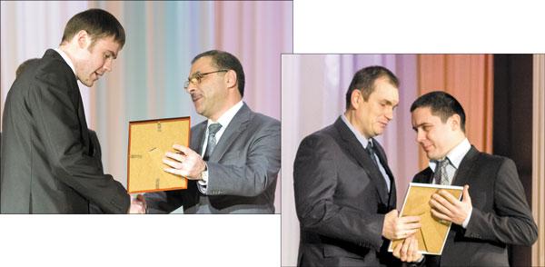 Дипломы вручают К. Бегагаев (выше) и В. Гуляев