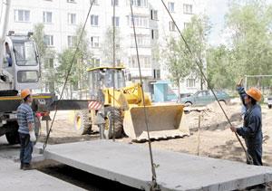Ремонт в одном из дворов по улице Строителей