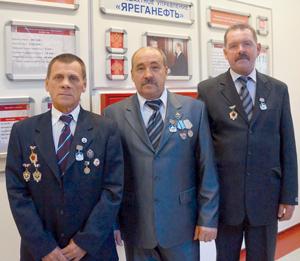 (слева направо) Василий Свинцов, Олег Зоненко и Сергей Нечаев
